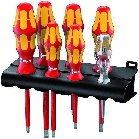 WERA Schraubendreher-Set 7-teilig inkl. Phasenprüfer und Rack gelb/rot
