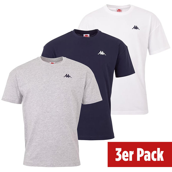Kappa 3er Set T-Shirt VEER Blau/Grau/Weiß