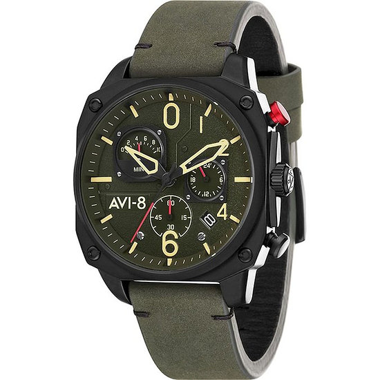 AVI-8 Herrenuhr Chronograph Hawker Hunter eckig Oliv