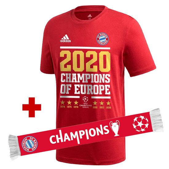 Adidas FC Bayern München T-Shirt CL Sieger 2020 Rot + Schal Champion Rot