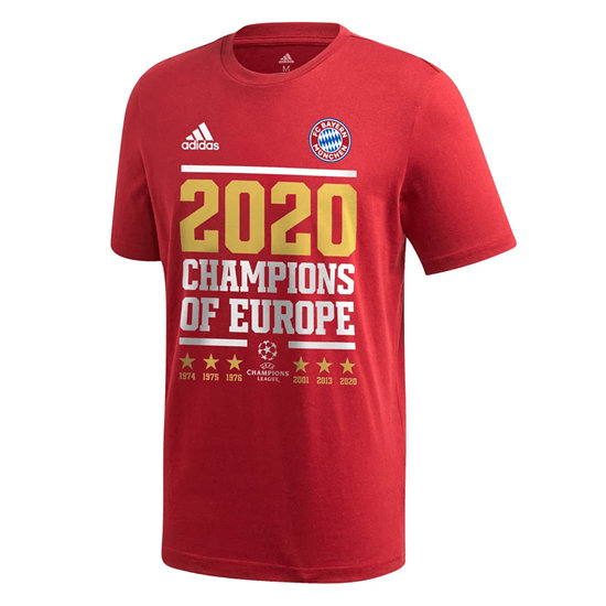 Adidas FC Bayern München T-Shirt CL Sieger 2020 Rot
