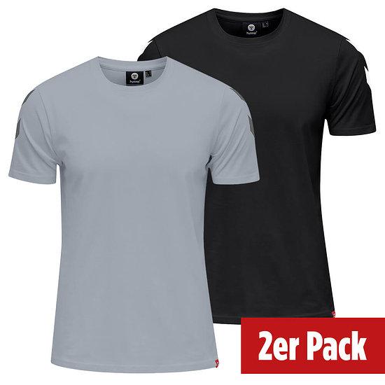 hummel 2er Set T-Shirt Legacy Chevron schwarz/grau