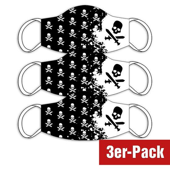 3er Set Mund-Nase Maske Kinder Pirat Schwarz