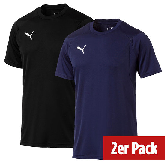 Puma 2er Set T-Shirt Training LIGA Schwarz/Blau