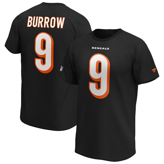 Fanatics Cincinnati Bengals T-Shirt Iconic N&N Burrow No 9 schwarz
