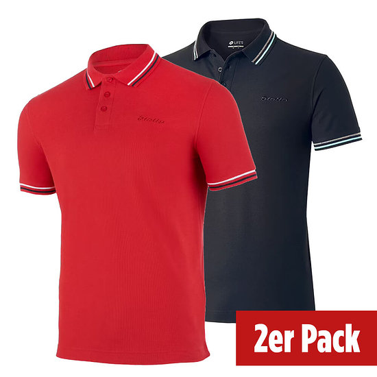 Lotto Poloshirt Classica 2er Set schwarz/rot