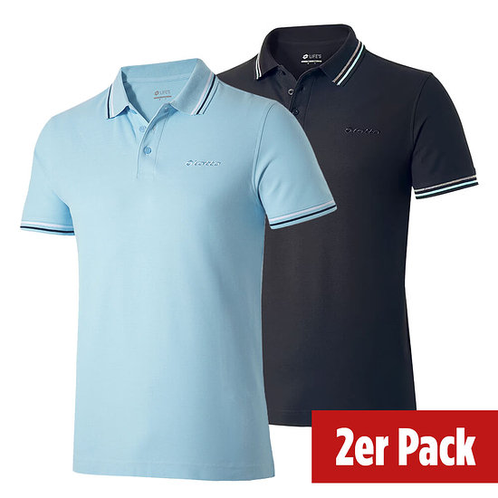 Lotto Poloshirt Classica 2er Set schwarz/airy/navy