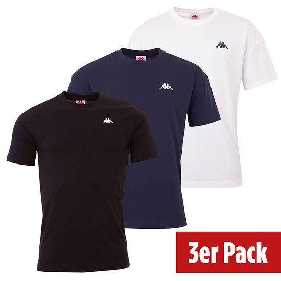 Kappa 3er Set T-Shirt VEER Schwarz/Blau/Weiß