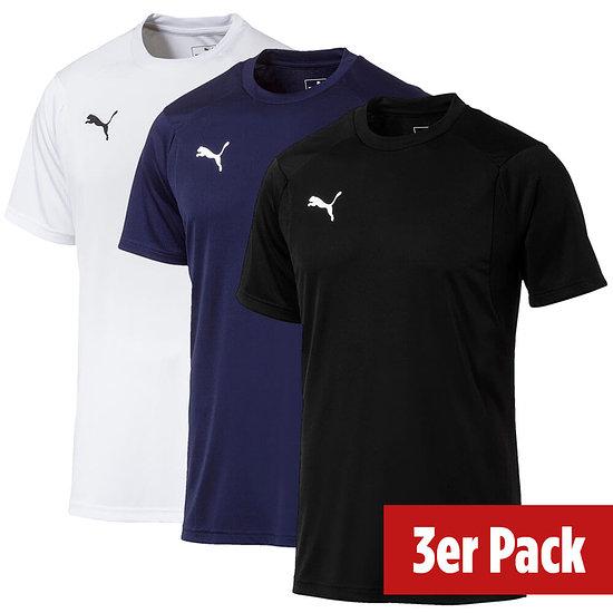 Puma 3er Set T-Shirt Training LIGA Schwarz/Weiß/Blau