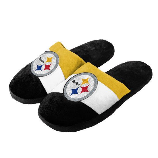 Forever Collectibles Pittsburgh Steelers Hausschuhe Colourblock schwarz/weiß/gold