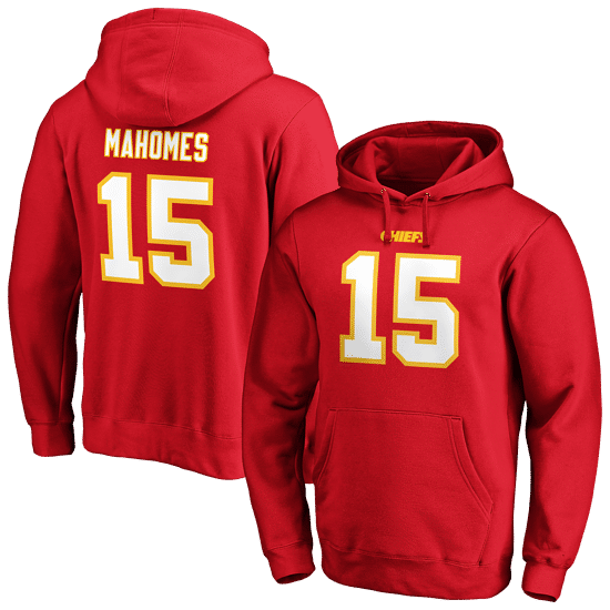 Fanatics Kansas City Chiefs Hoodie Iconic N&N Mahomes No 15 rot