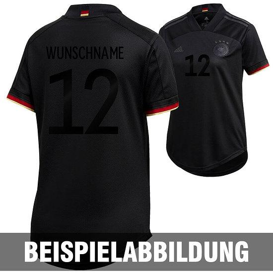 Adidas Deutschland EM 2021 DFB Trikot Auswärts SCHWARZER FAN-AUFDRUCK Damen