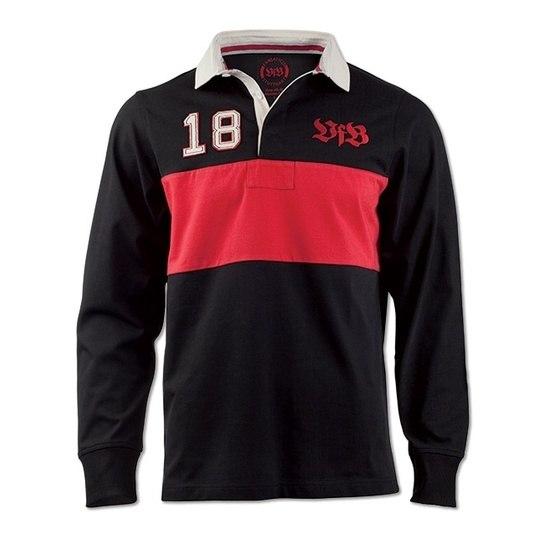 VfB Stuttgart Poloshirt L/S Brustring schwarz