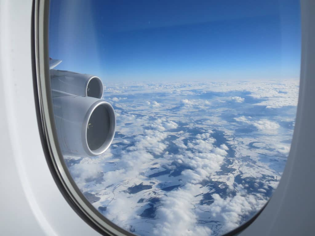 Asiana First Class A380 Blick aus dem Fenster