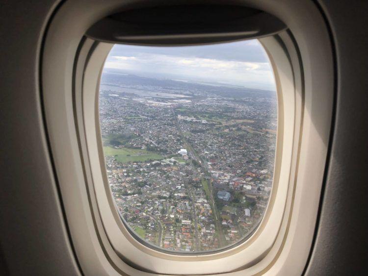 Qatar Airways Business Class Boeing 777-200LR Auckland from above