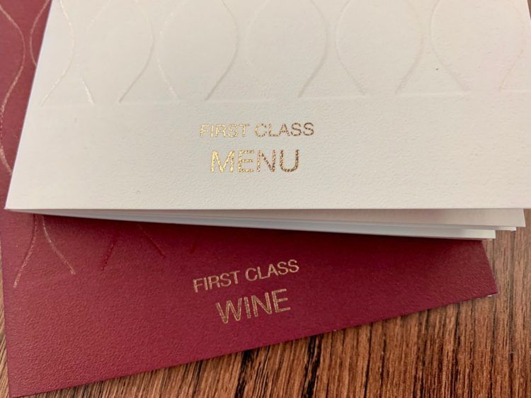 Qatar Airways First Class Menü