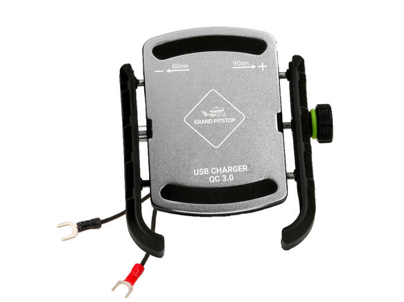Grandpitstop Jaw Grip Mobile Holder With Charger (Aluminium)- Silver