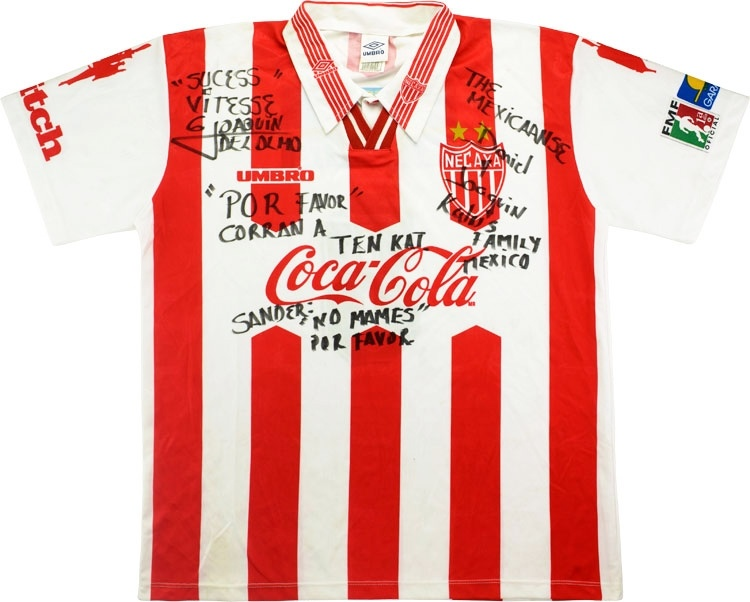 1997-98 Necaxa Match Issue Signed Home Shirt #8 (del Olmo)