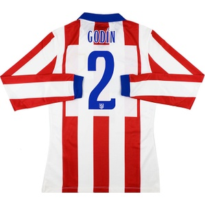 2014-15 Atletico Madrid Player Issue Home L/S Shirt Godín #2 *w/Tags* M