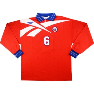 1998 Chile Match Issue Home L/S Shirt #6 (Galdames) v England