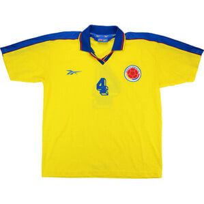 1998 Colombia Match Worn Home Shirt #4 (Santa) v Germany