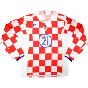 2005 Croatia Match Issue Home L/S Shirt #21 (Balaban) v Sweden
