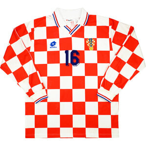1996 Croatia Match Worn Home L/S Shirt #16 (Pamić) v England