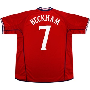 2002-04 England Away Shirt Beckham #7 (Very Good) L