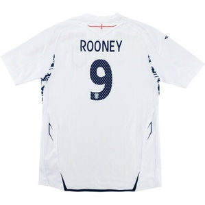 2007-09 England Home Shirt Rooney #9 (Excellent) L.Boys