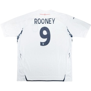 2007-09 England Home Shirt Rooney #9 (Fair) XL
