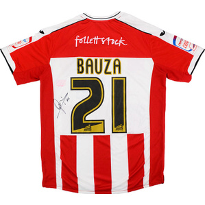 2011-12 Exeter City Match Issue Home Signed Shirt Bauza #21