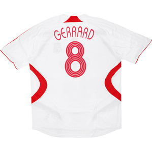 2007-08 Liverpool CL Away Shirt Gerrard #8 (Very Good) L