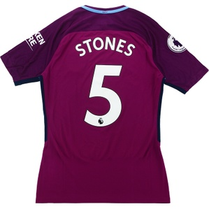 2017-18 Manchester City Match Issue Away Shirt Stones #5 *As New* M