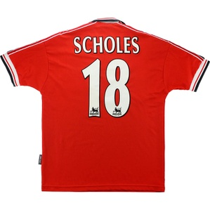 1998-00 Manchester United Home Shirt Scholes #18 (Excellent) XL