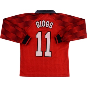 1996-97 Manchester United Home L/S Shirt Giggs #11 (Excellent) L.Boys