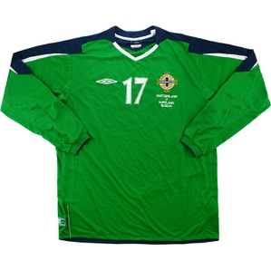 2004 Northern Ireland Match Worn Home L/S Shirt #17 (Hamilton) v Switzerland