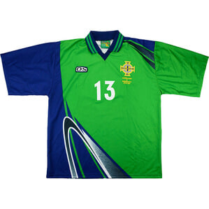 1999 Northern Ireland Match Issue Home Shirt #13 (Hughes) v Germany