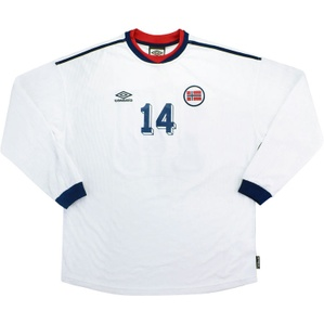2000-02 Norway Match Issue Away L/S Shirt #14