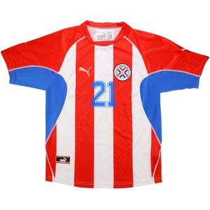 2002 Paraguay Match Worn Home Shirt #21 (Caniza) v England