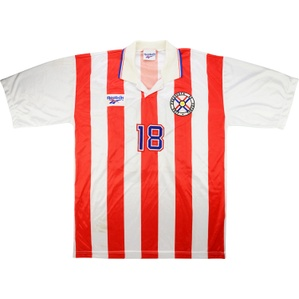 1998 Paraguay Match Worn Home Shirt #18 (Ramírez) v Holland