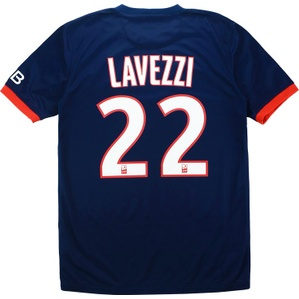 2013-14 Paris Saint-Germain Home Shirt Lavezzi #22 (Excellent) S