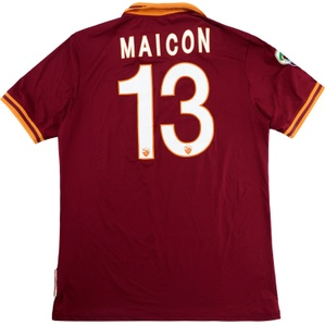2013-14 Roma Match Worn Home Shirt Maicon #13 (v Chelsea)