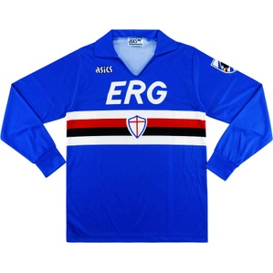 1991-92 Sampdoria Home L/S Shirt #9 (Vialli) (Good) M
