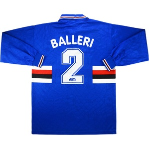 1995-96 Sampdoria Match Worn Home L/S Shirt Balleri #2 (v Middlesbrough)
