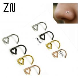 Heart Shapes Nose Studs Pins Rings Womens Jewellery