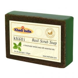 Khadi Leafveda Basil Scrub Soap Pack of 3 For Bath Essentials 375gm