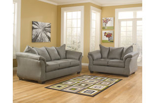 Signature Design by Ashley Darcy Cobblestone Sofa and Loveseat- Sample Room View