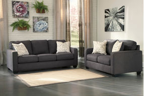 Signature Design by Ashley Alenya-Charcoal Sofa and Loveseat- Room View