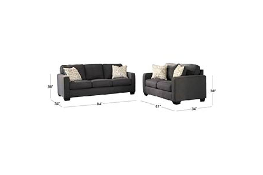 Signature Design by Ashley Alenya-Charcoal Sofa and Loveseat Dimensions