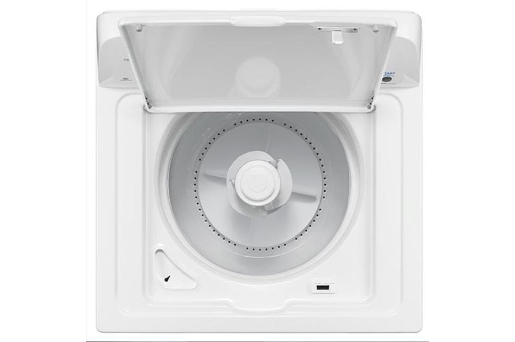 Amana® White 3.5 Cu. Ft. High Efficiency Top Load Washer- Open View